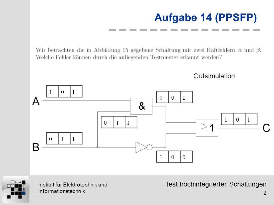 Test hochintegrierter Schaltungen 2 Institut für Elektrotechnik und Informationstechnik Aufgabe 14 (PPSFP) 101011011001100101 Gutsimulation
