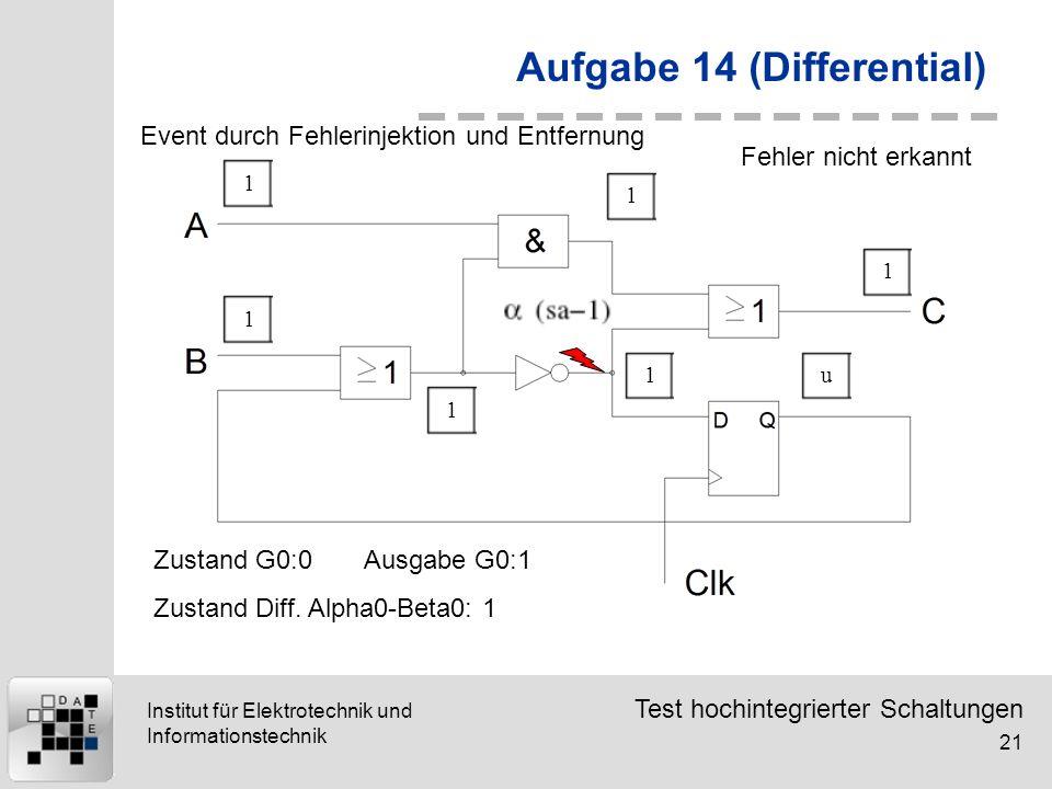 Test hochintegrierter Schaltungen 21 Institut für Elektrotechnik und Informationstechnik Aufgabe 14 (Differential) 111111u Event durch Fehlerinjektion