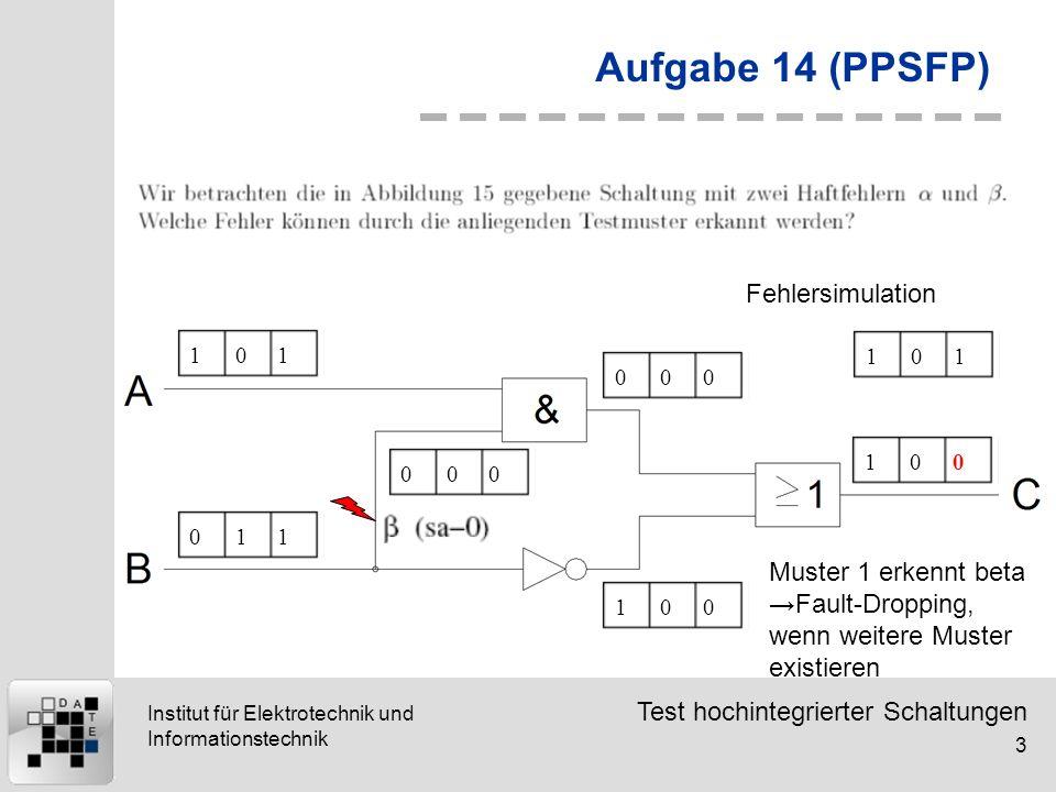 Test hochintegrierter Schaltungen 3 Institut für Elektrotechnik und Informationstechnik Aufgabe 14 (PPSFP) 101011000000100100 Fehlersimulation 101 Mus