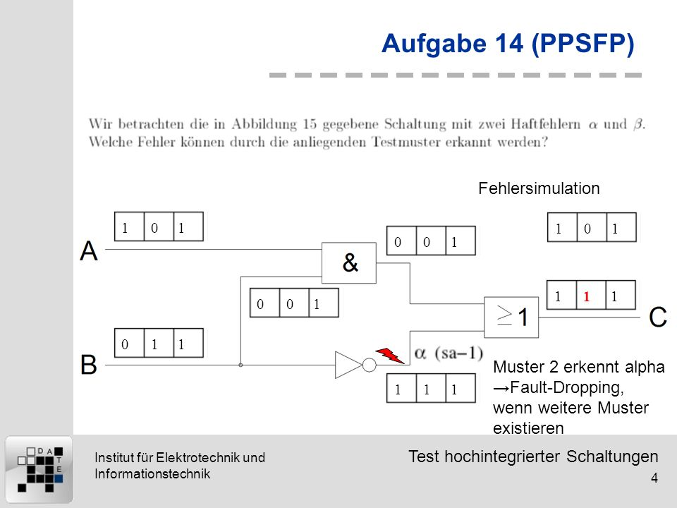 Test hochintegrierter Schaltungen 4 Institut für Elektrotechnik und Informationstechnik Aufgabe 14 (PPSFP) 101011001001111111 Fehlersimulation 101 Mus