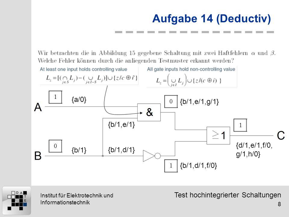 Test hochintegrierter Schaltungen 8 Institut für Elektrotechnik und Informationstechnik Aufgabe 14 (Deductiv) {a/0} 10 {b/1} {b/1,d/1} {b/1,e/1} {b/1,