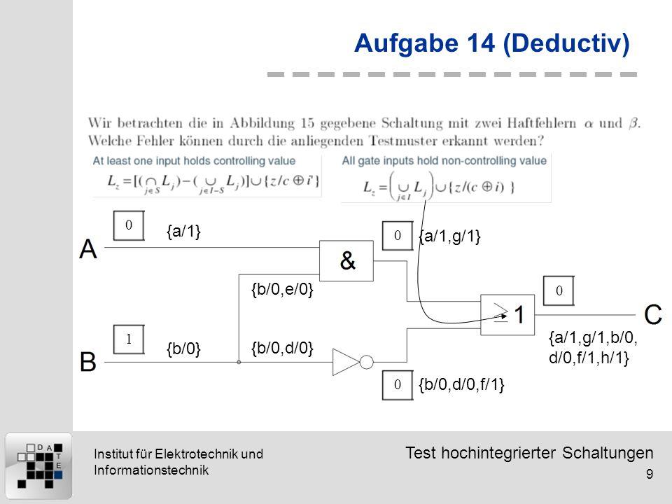 Test hochintegrierter Schaltungen 9 Institut für Elektrotechnik und Informationstechnik Aufgabe 14 (Deductiv) {a/1} 01 {b/0} {b/0,d/0} {b/0,e/0} {a/1,