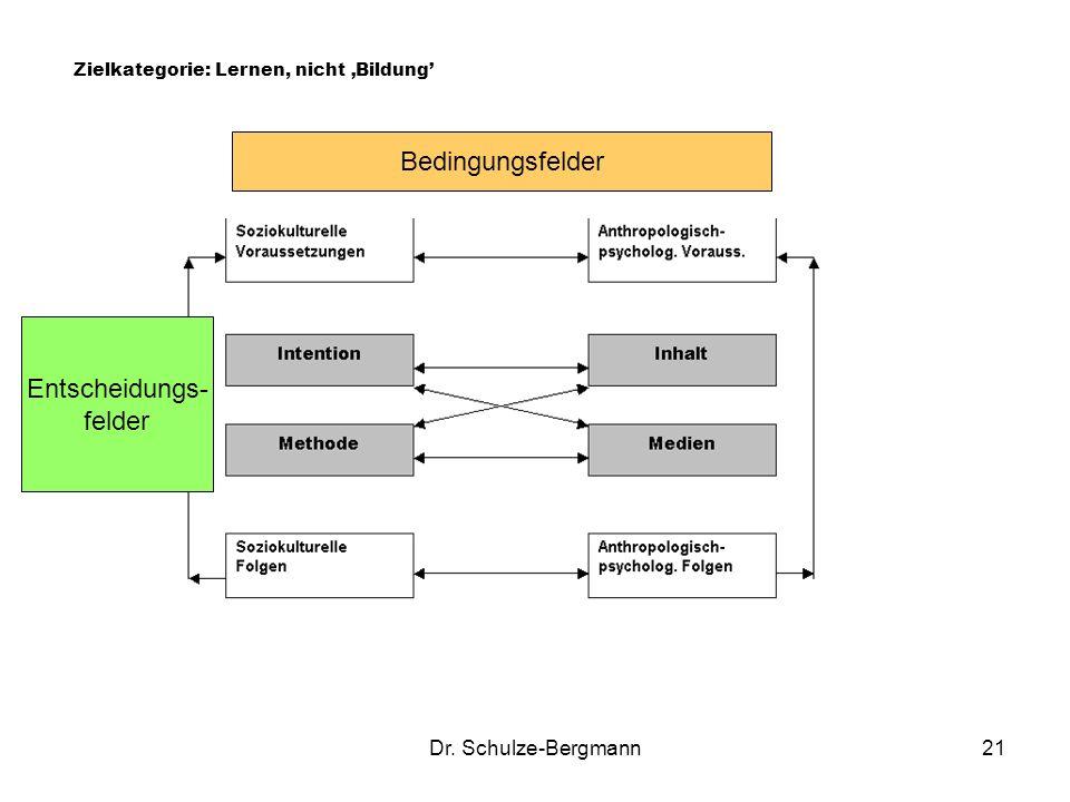 Dr. Schulze-Bergmann21 Zielkategorie: Lernen, nicht Bildung Bedingungsfelder Entscheidungs- felder