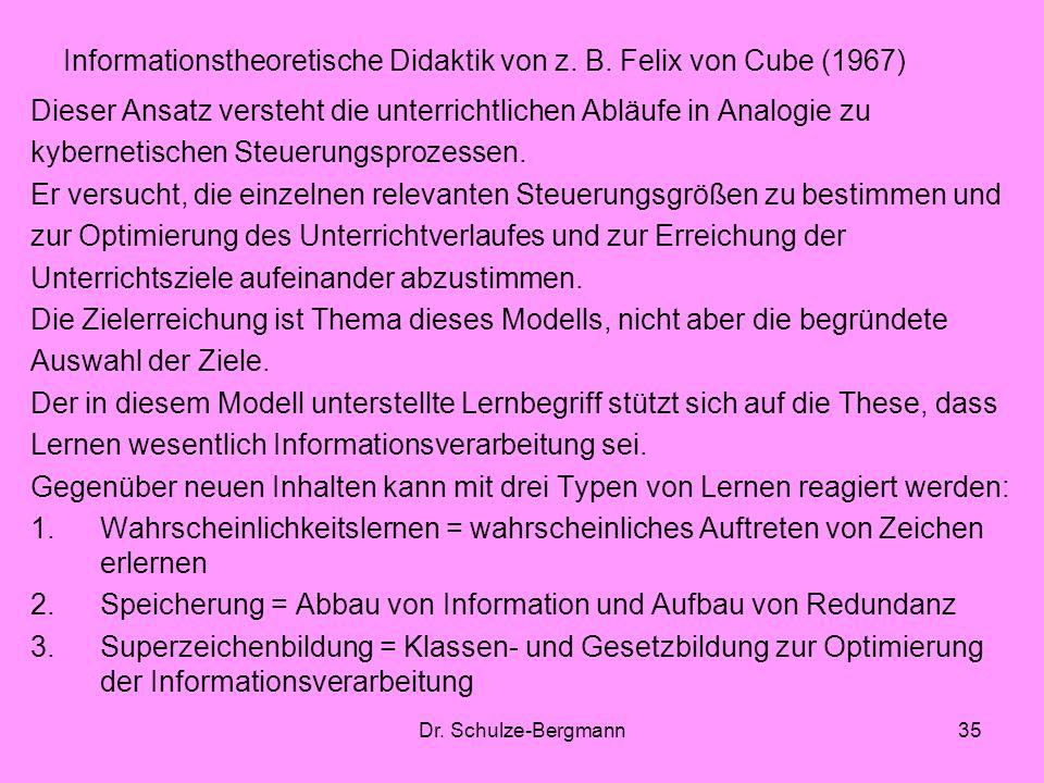 Dr. Schulze-Bergmann35 Informationstheoretische Didaktik von z. B. Felix von Cube (1967) Dieser Ansatz versteht die unterrichtlichen Abläufe in Analog