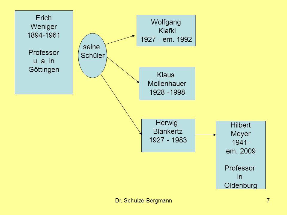 Dr. Schulze-Bergmann7 Erich Weniger 1894-1961 Professor u. a. in Göttingen Wolfgang Klafki 1927 - em. 1992 Klaus Mollenhauer 1928 -1998 Herwig Blanker