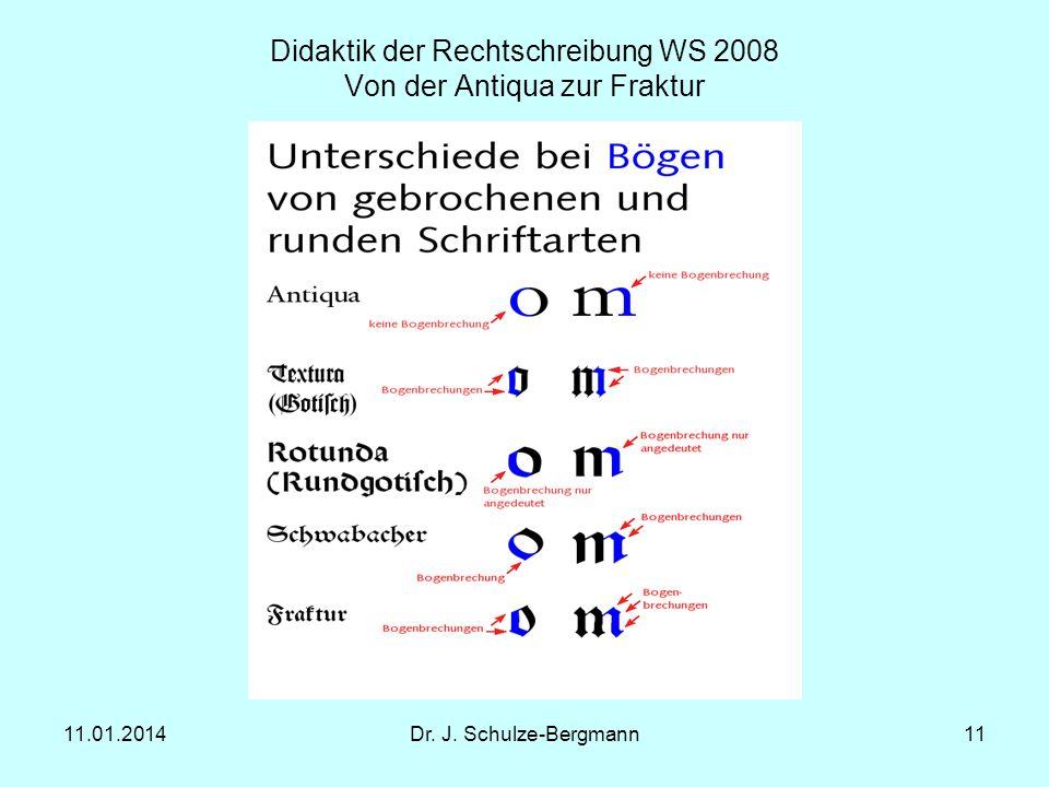 11.01.2014Dr. J. Schulze-Bergmann11 Didaktik der Rechtschreibung WS 2008 Von der Antiqua zur Fraktur