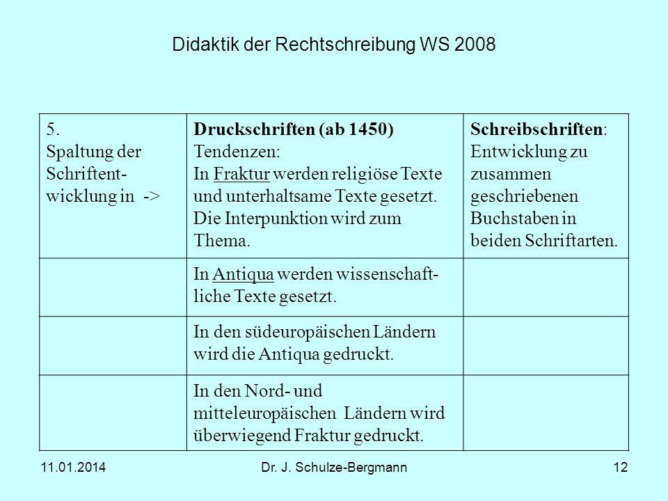 11.01.2014Dr. J. Schulze-Bergmann12 Didaktik der Rechtschreibung WS 2008 5. Spaltung der Schriftent- wicklung in -> Druckschriften (ab 1450) Tendenzen