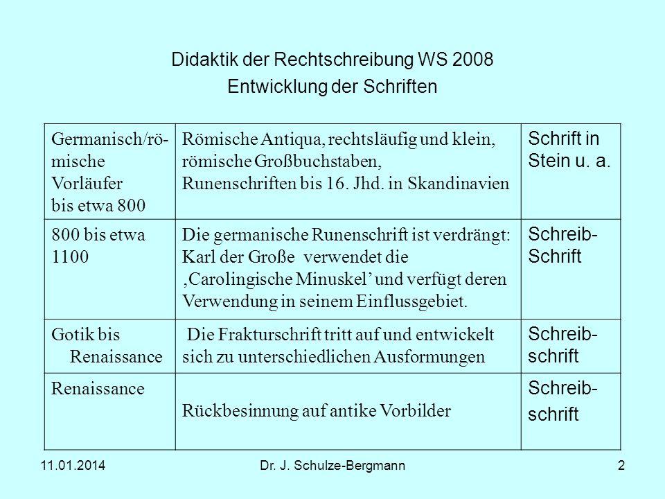 11.01.2014Dr. J. Schulze-Bergmann2 Didaktik der Rechtschreibung WS 2008 Entwicklung der Schriften Germanisch/rö- mische Vorläufer bis etwa 800 Römisch