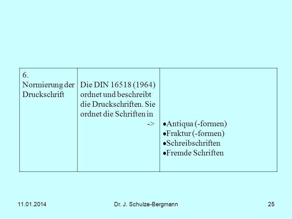 11.01.2014Dr. J. Schulze-Bergmann25 6. Normierung der Druckschrift Die DIN 16518 (1964) ordnet und beschreibt die Druckschriften. Sie ordnet die Schri
