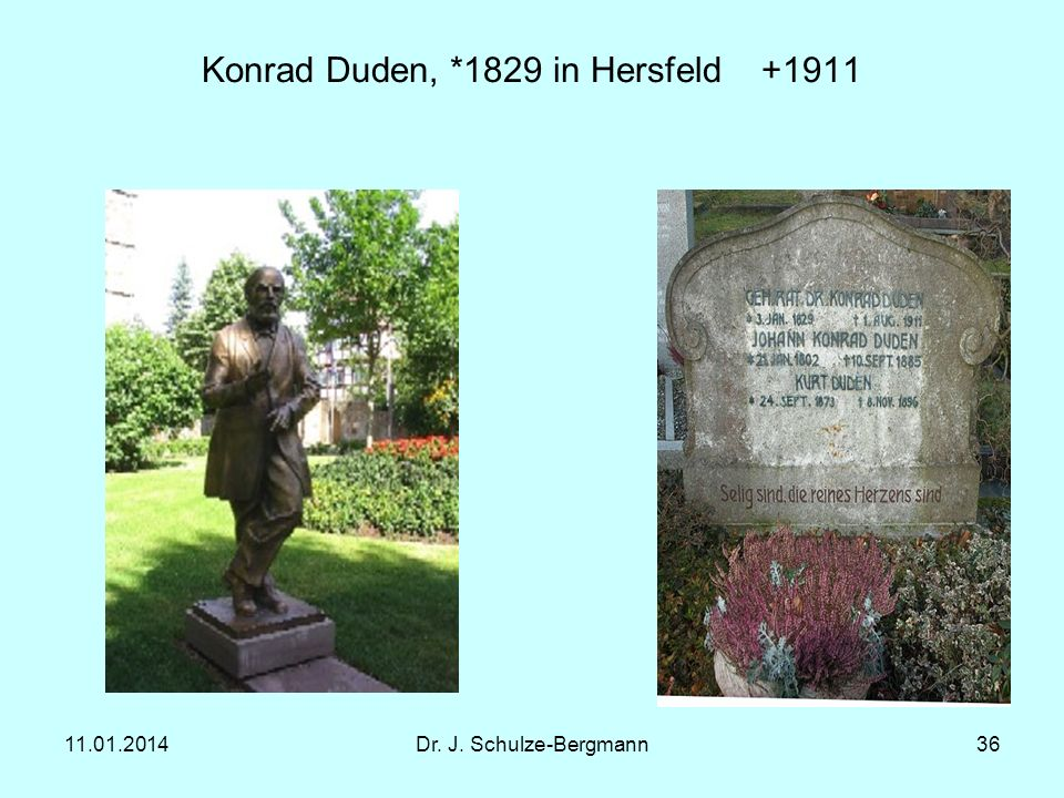 11.01.2014Dr. J. Schulze-Bergmann36 Konrad Duden, *1829 in Hersfeld +1911