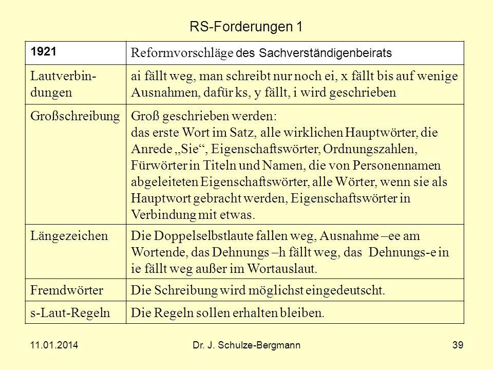 11.01.2014Dr. J. Schulze-Bergmann39 RS-Forderungen 1 1921 Reformvorschläge des Sachverständigenbeirats Lautverbin- dungen ai fällt weg, man schreibt n