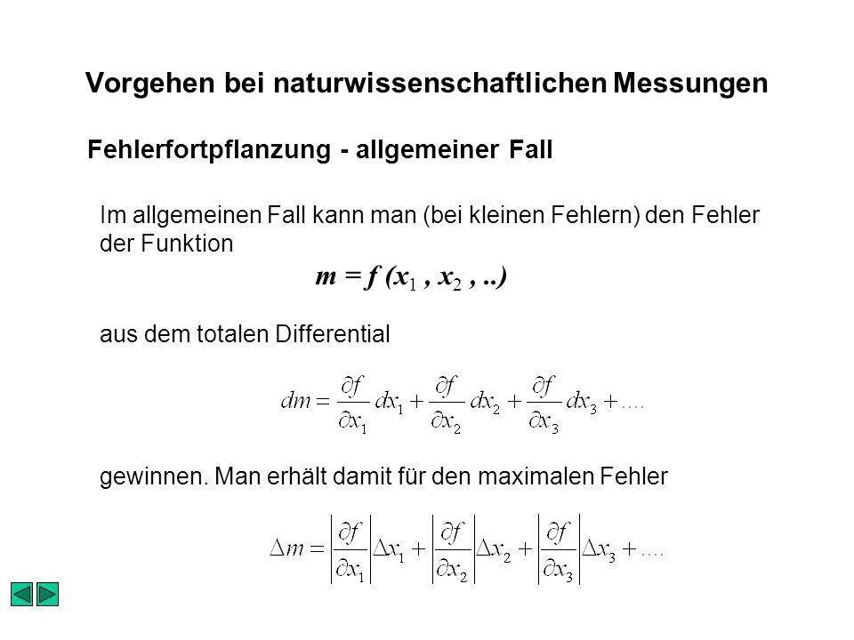 Vorgehen bei naturwissenschaftlichen Messungen Im allgemeinen Fall kann man (bei kleinen Fehlern) den Fehler der Funktion m = f (x 1, x 2,..) aus dem totalen Differential gewinnen.