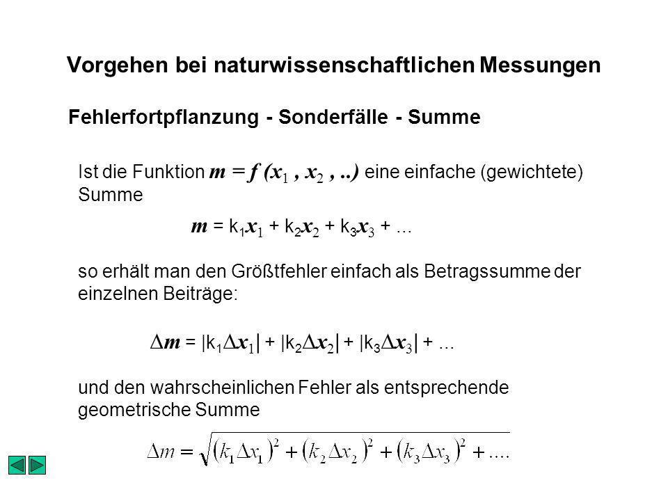 Vorgehen bei naturwissenschaftlichen Messungen Ist die Funktion m = f (x 1, x 2,..) eine einfache (gewichtete) Summe m = k 1 x 1 + k 2 x 2 + k 3 x 3 +