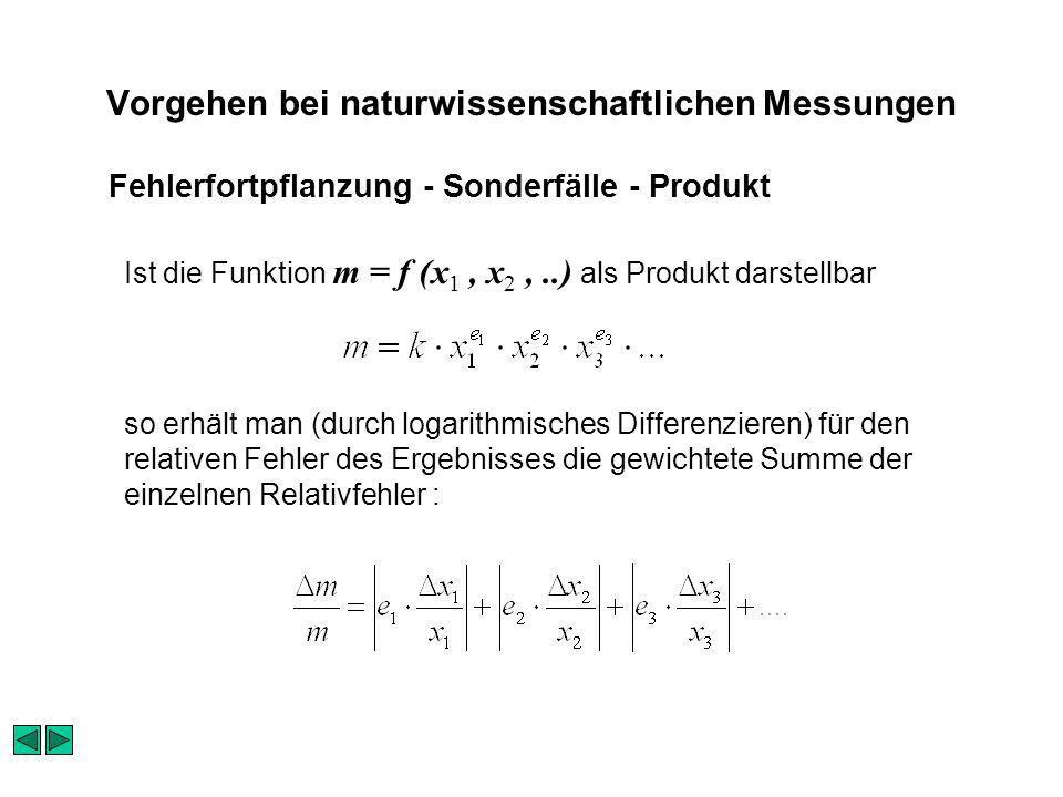 Vorgehen bei naturwissenschaftlichen Messungen Ist die Funktion m = f (x 1, x 2,..) als Produkt darstellbar so erhält man (durch logarithmisches Diffe