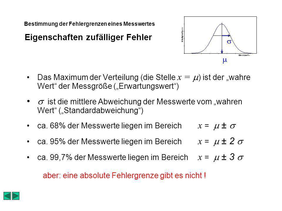 Eigenschaften zufälliger Fehler Bestimmung der Fehlergrenzen eines Messwertes Das Maximum der Verteilung (die Stelle x = ) ist der wahre Wert der Messgröße (Erwartungswert) ist die mittlere Abweichung der Messwerte vom wahren Wert (Standardabweichung) ca.