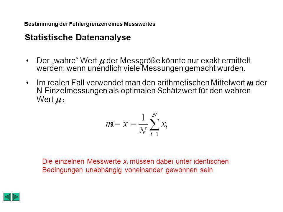 Statistische Datenanalyse Bestimmung der Fehlergrenzen eines Messwertes Der wahre Wert der Messgröße könnte nur exakt ermittelt werden, wenn unendlich viele Messungen gemacht würden.