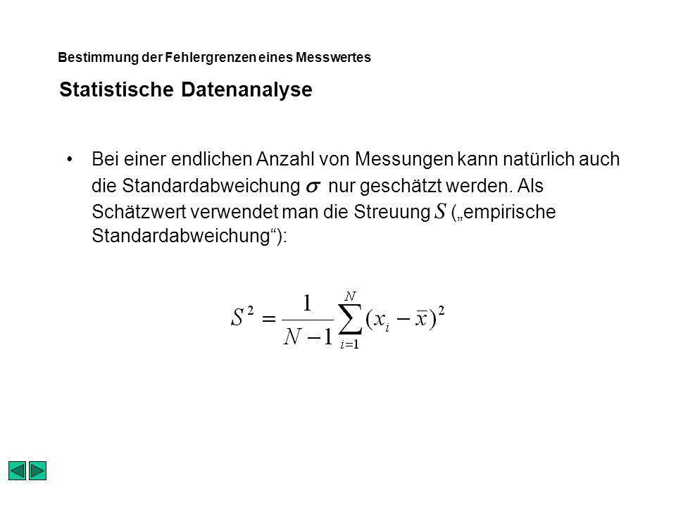 Statistische Datenanalyse Bestimmung der Fehlergrenzen eines Messwertes Bei einer endlichen Anzahl von Messungen kann natürlich auch die Standardabweichung nur geschätzt werden.
