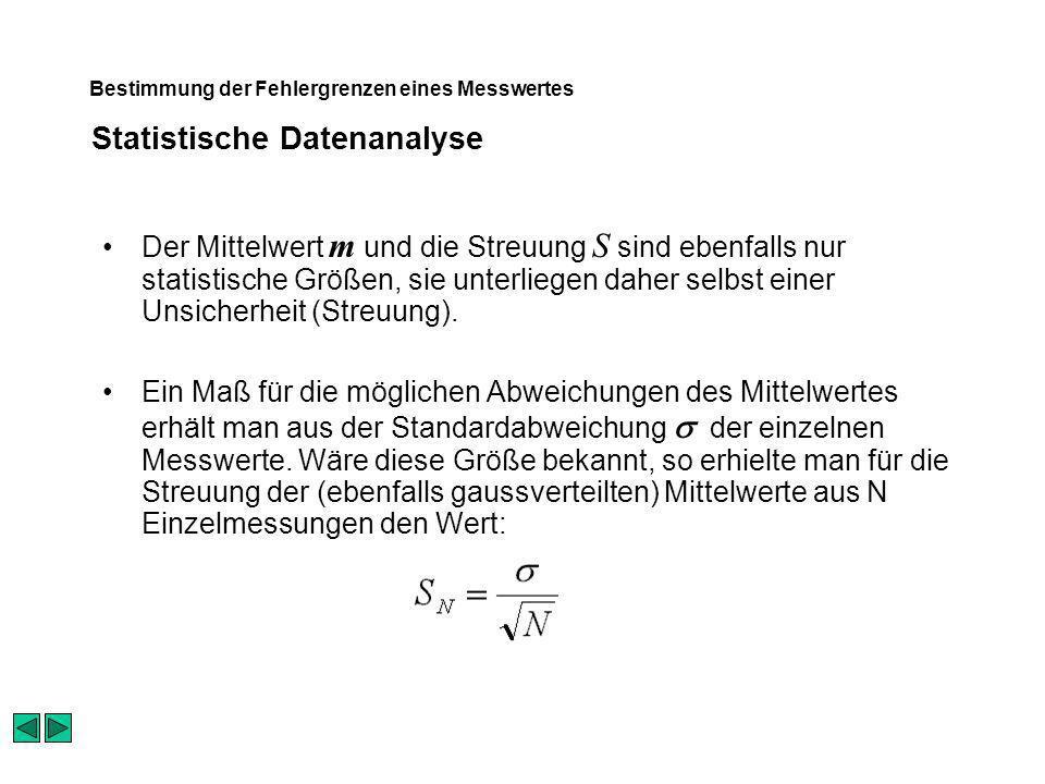 Statistische Datenanalyse Bestimmung der Fehlergrenzen eines Messwertes Der Mittelwert m und die Streuung S sind ebenfalls nur statistische Größen, sie unterliegen daher selbst einer Unsicherheit (Streuung).