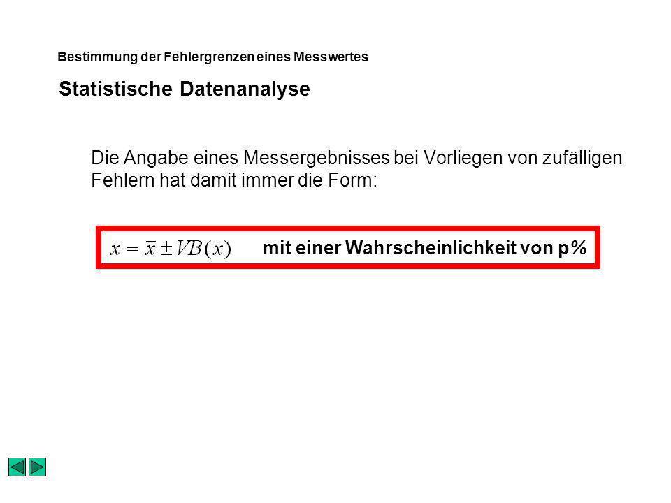 Statistische Datenanalyse Bestimmung der Fehlergrenzen eines Messwertes Die Angabe eines Messergebnisses bei Vorliegen von zufälligen Fehlern hat damit immer die Form: mit einer Wahrscheinlichkeit von p%