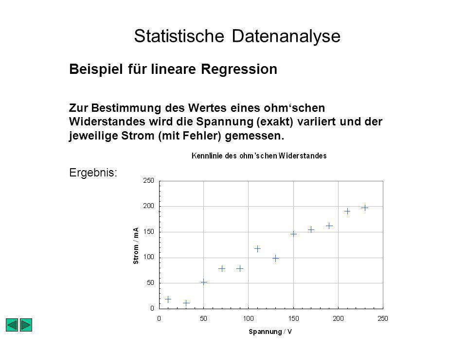 Statistische Datenanalyse Beispiel für lineare Regression Zur Bestimmung des Wertes eines ohmschen Widerstandes wird die Spannung (exakt) variiert und