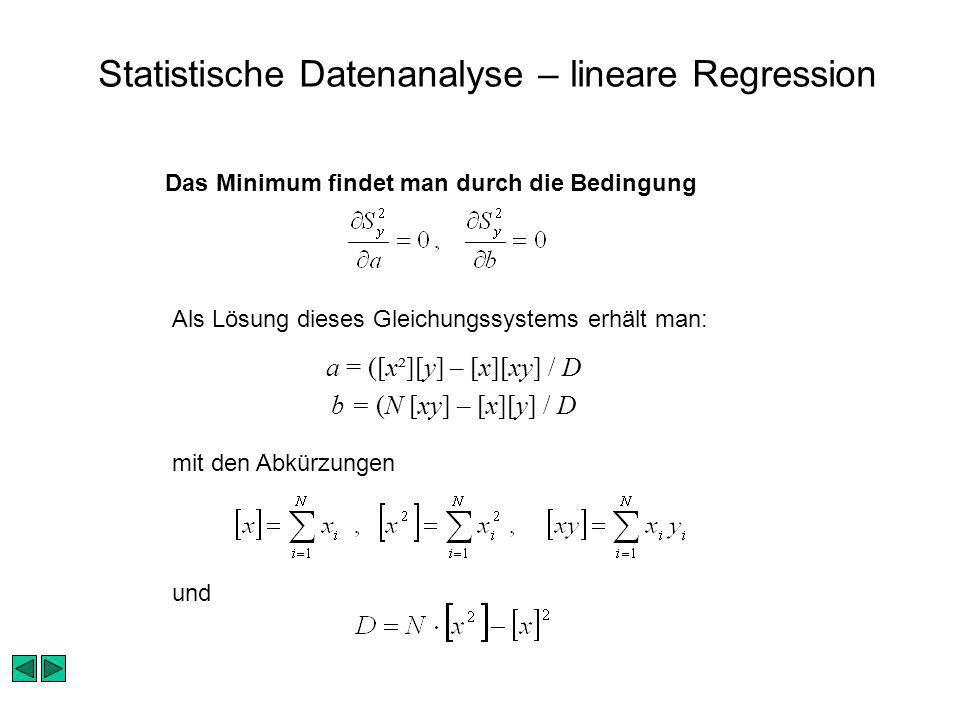 Statistische Datenanalyse – lineare Regression Das Minimum findet man durch die Bedingung Als Lösung dieses Gleichungssystems erhält man: mit den Abkürzungen und a = ([x²][y] – [x][xy] / D b = (N [xy] – [x][y] / D