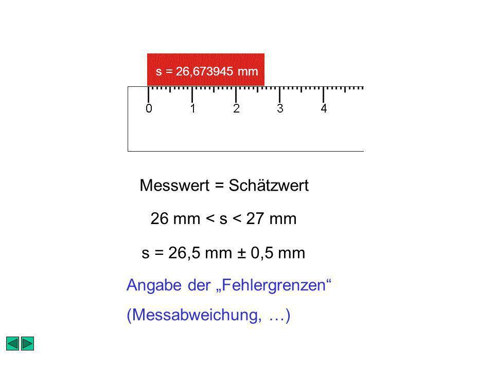 s = 26,673945 mm Messwert = Schätzwert 26 mm < s < 27 mm Angabe der Fehlergrenzen (Messabweichung, …) s = 26,5 mm ± 0,5 mm