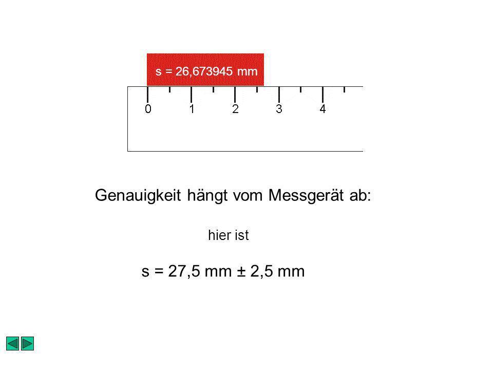 s = 26,673945 mm s = 27,5 mm ± 2,5 mm Genauigkeit hängt vom Messgerät ab: hier ist