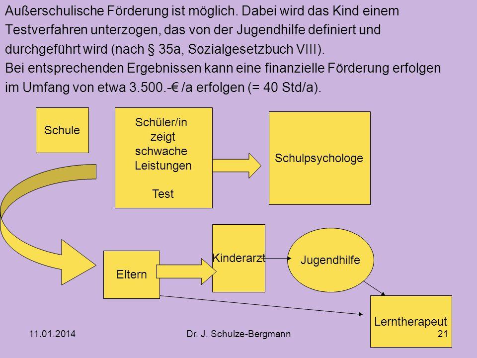 11.01.2014Dr.J. Schulze-Bergmann Außerschulische Förderung ist möglich.