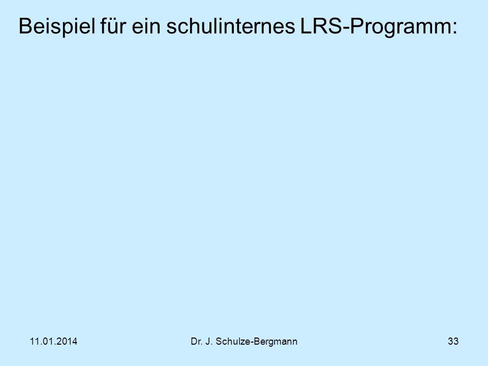 11.01.2014Dr. J. Schulze-Bergmann Beispiel für ein schulinternes LRS-Programm: 33