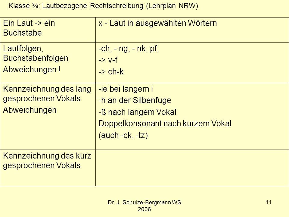 Dr. J. Schulze-Bergmann WS 2006 11 Ein Laut -> ein Buchstabe x - Laut in ausgewählten Wörtern Lautfolgen, Buchstabenfolgen Abweichungen ! -ch, - ng, -