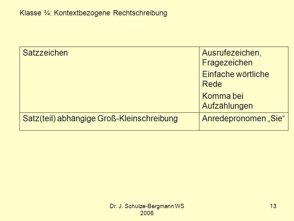 Dr. J. Schulze-Bergmann WS 2006 13 SatzzeichenAusrufezeichen, Fragezeichen Einfache wörtliche Rede Komma bei Aufzählungen Satz(teil) abhängige Groß-Kl