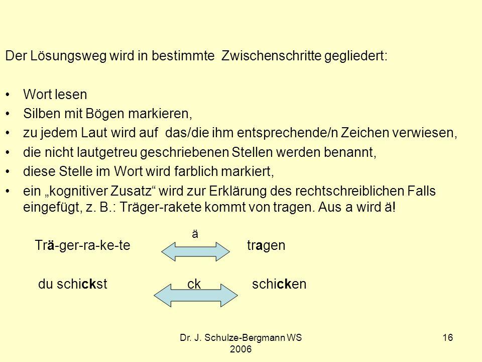 Dr. J. Schulze-Bergmann WS 2006 16 Der Lösungsweg wird in bestimmte Zwischenschritte gegliedert: Wort lesen Silben mit Bögen markieren, zu jedem Laut