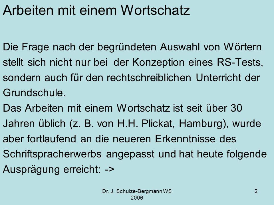 Dr. J. Schulze-Bergmann WS 2006 2 Arbeiten mit einem Wortschatz Die Frage nach der begründeten Auswahl von Wörtern stellt sich nicht nur bei der Konze