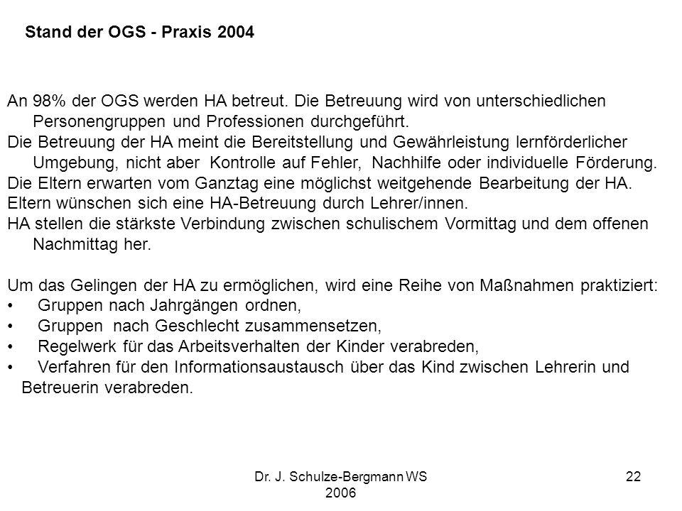 Dr. J. Schulze-Bergmann WS 2006 22 An 98% der OGS werden HA betreut. Die Betreuung wird von unterschiedlichen Personengruppen und Professionen durchge