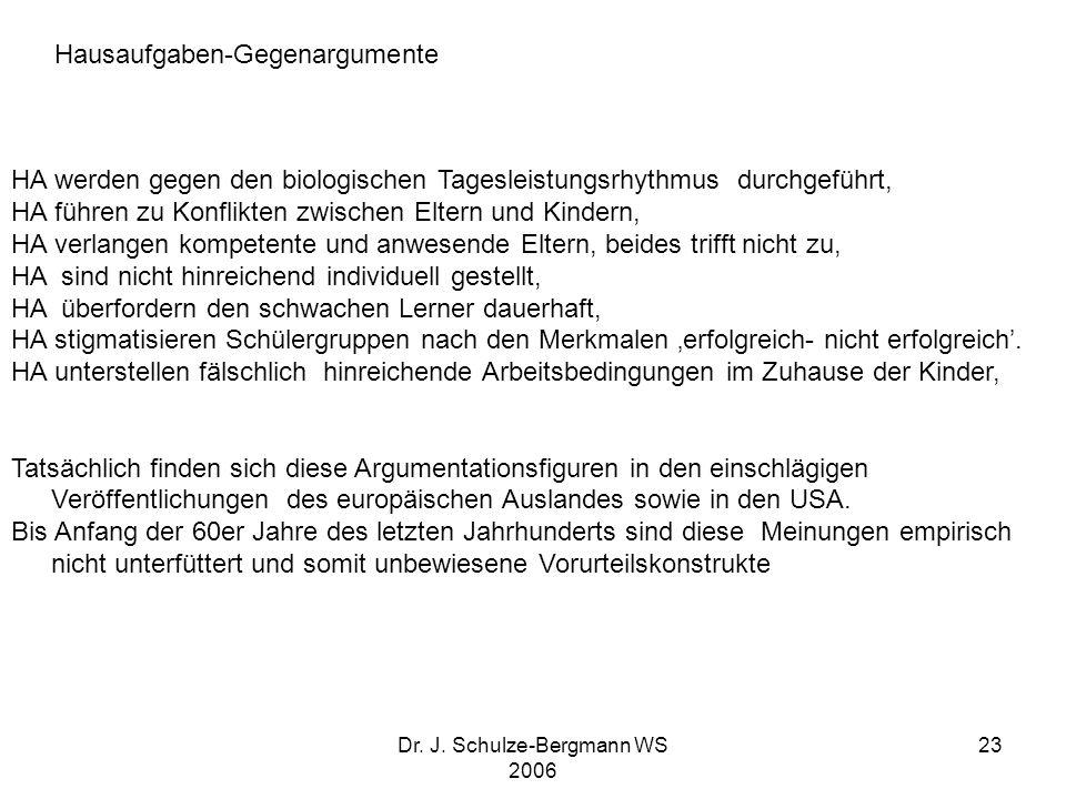 Dr. J. Schulze-Bergmann WS 2006 23 HA werden gegen den biologischen Tagesleistungsrhythmus durchgeführt, HA führen zu Konflikten zwischen Eltern und K