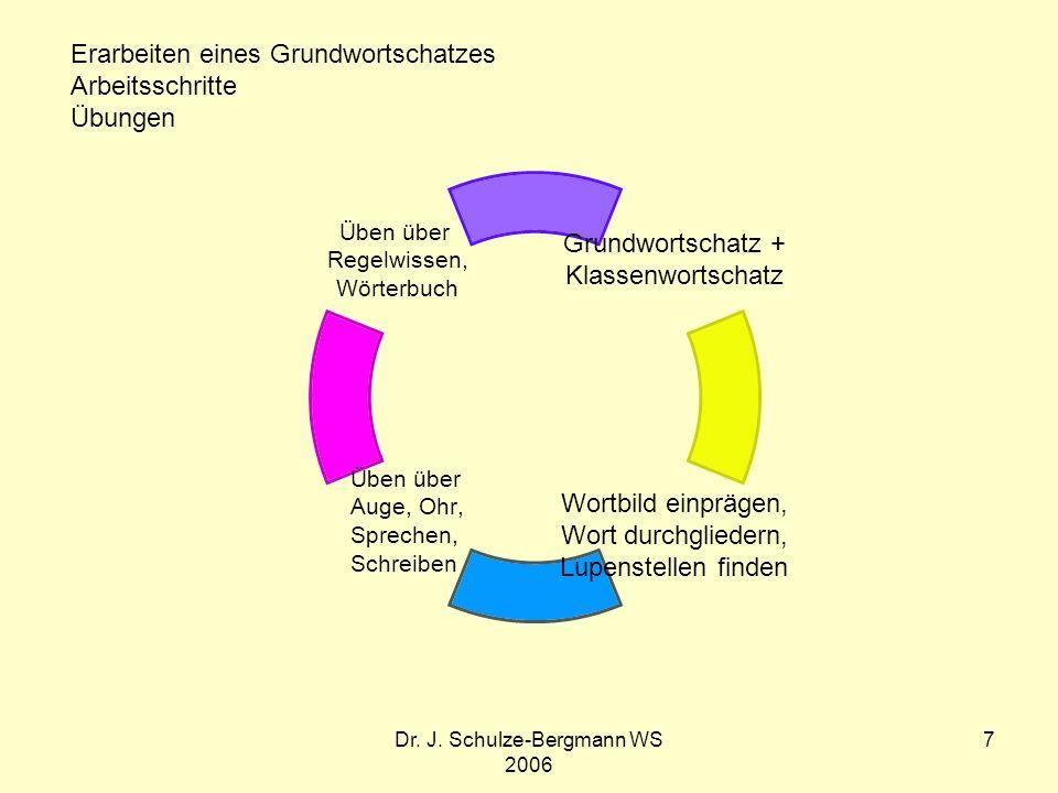 Dr. J. Schulze-Bergmann WS 2006 7 Grundwortschatz + Klassenwortschatz Wortbild einprägen, Wort durchgliedern, Lupenstellen finden Üben über Auge, Ohr,
