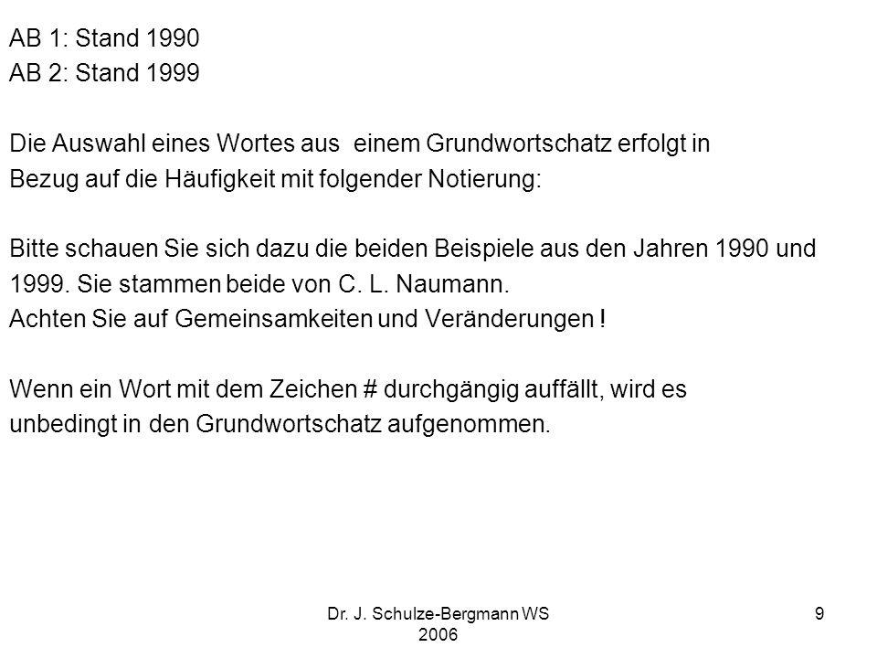 Dr. J. Schulze-Bergmann WS 2006 9 AB 1: Stand 1990 AB 2: Stand 1999 Die Auswahl eines Wortes aus einem Grundwortschatz erfolgt in Bezug auf die Häufig