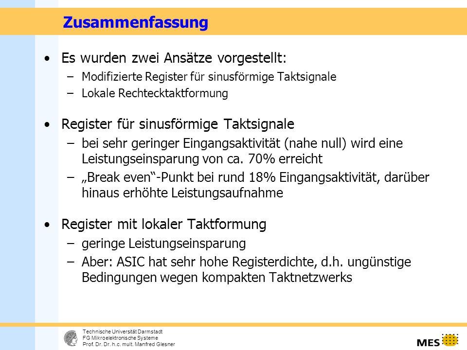 13 Technische Universität Darmstadt FG Mikroelektronische Systeme Prof.