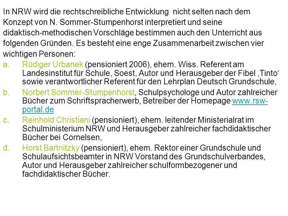 In NRW wird die rechtschreibliche Entwicklung nicht selten nach dem Konzept von N. Sommer-Stumpenhorst interpretiert und seine didaktisch-methodischen
