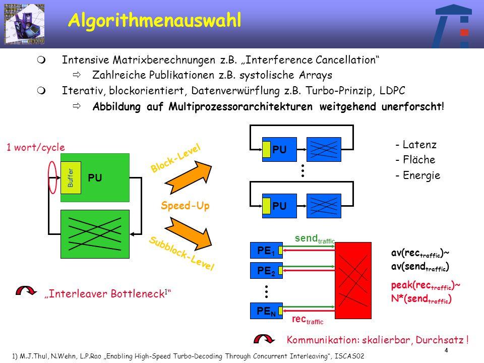 5 Bus-basiertes AP-MPSoC NAnzahl der Prozessoren f R Datenerzeugungsrate pro Taktzyklus Durchsatzanforderung an Kommunikation: N * f R Daten pro Taktzyklus N 1/f R : Bus-Architektur möglich Beispiel UMTS TC Kanaldecoder Blockgröße=5114, 5 Iterationen, f=133MHz, f R =1/5 maximal N=5 Prozessorknoten bedienbar maximaler Durchsatz=7.28 Mbit/s Prozessor an Anwendung angepasst Bus-Architekturen nicht skalierbar, eingeschränkter Durchsatz Message passing Kommunikation XLMI: single cycle Speicherzugriff