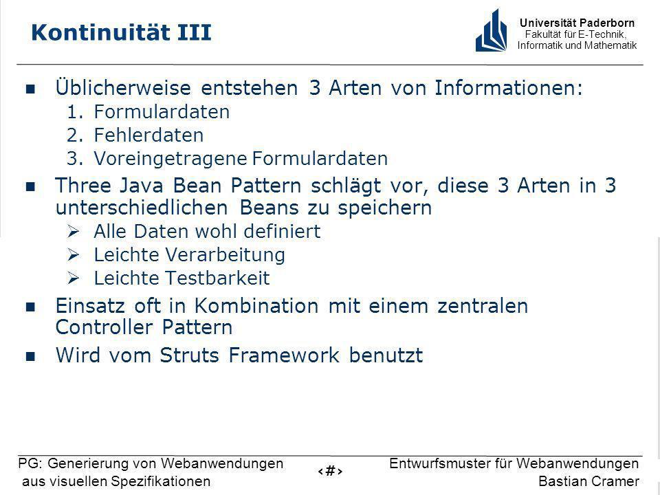 Universität Paderborn Fakultät für E-Technik, Informatik und Mathematik 12 PG: Generierung von Webanwendungen aus visuellen Spezifikationen Entwurfsmu