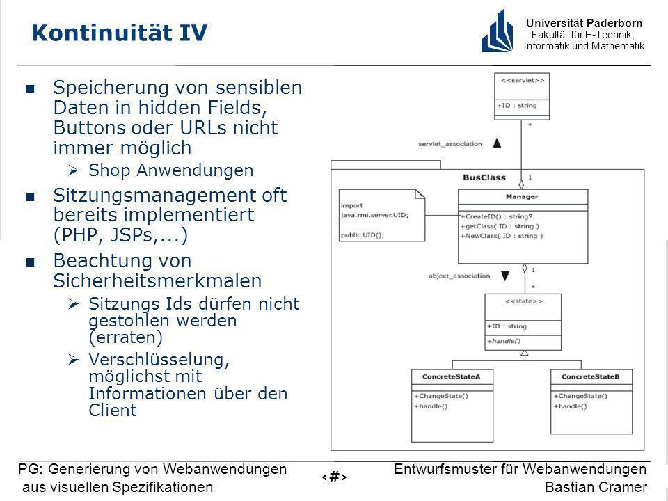 Universität Paderborn Fakultät für E-Technik, Informatik und Mathematik 13 PG: Generierung von Webanwendungen aus visuellen Spezifikationen Entwurfsmu