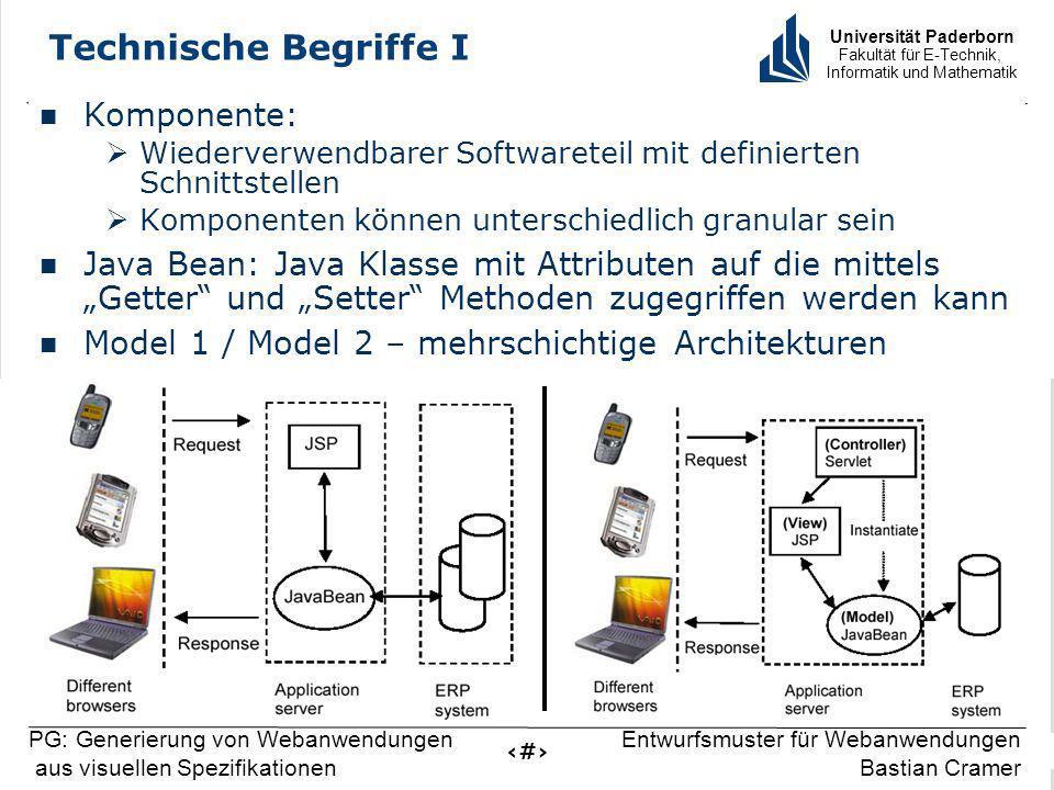 Universität Paderborn Fakultät für E-Technik, Informatik und Mathematik 5 PG: Generierung von Webanwendungen aus visuellen Spezifikationen Entwurfsmus