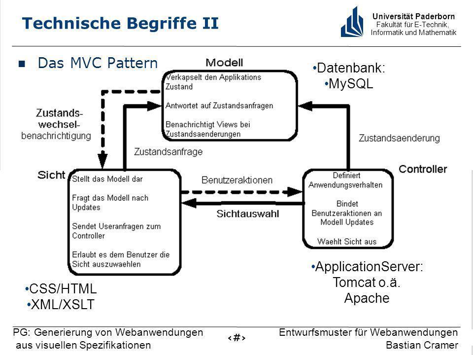 Universität Paderborn Fakultät für E-Technik, Informatik und Mathematik 6 PG: Generierung von Webanwendungen aus visuellen Spezifikationen Entwurfsmuster für Webanwendungen Bastian Cramer Technische Begriffe II Das MVC Pattern CSS/HTML XML/XSLT ApplicationServer: Tomcat o.ä.