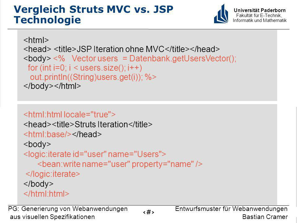 Universität Paderborn Fakultät für E-Technik, Informatik und Mathematik 7 PG: Generierung von Webanwendungen aus visuellen Spezifikationen Entwurfsmuster für Webanwendungen Bastian Cramer Vergleich Struts MVC vs.