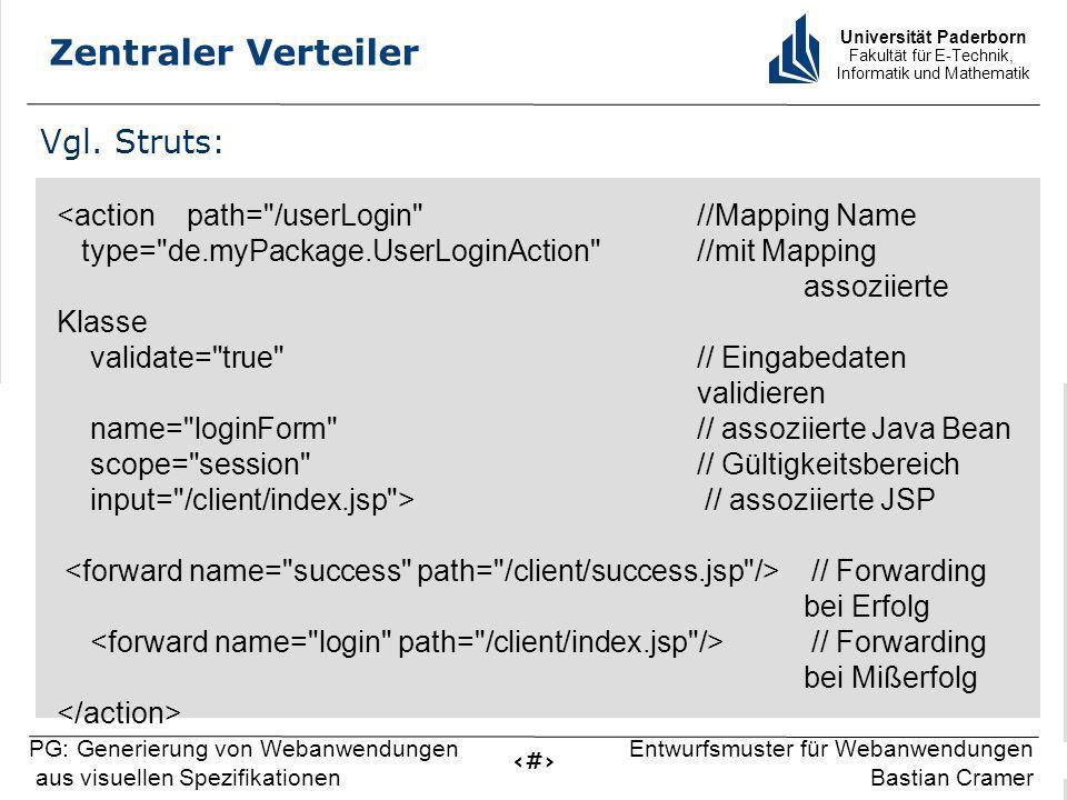 Universität Paderborn Fakultät für E-Technik, Informatik und Mathematik 9 PG: Generierung von Webanwendungen aus visuellen Spezifikationen Entwurfsmus