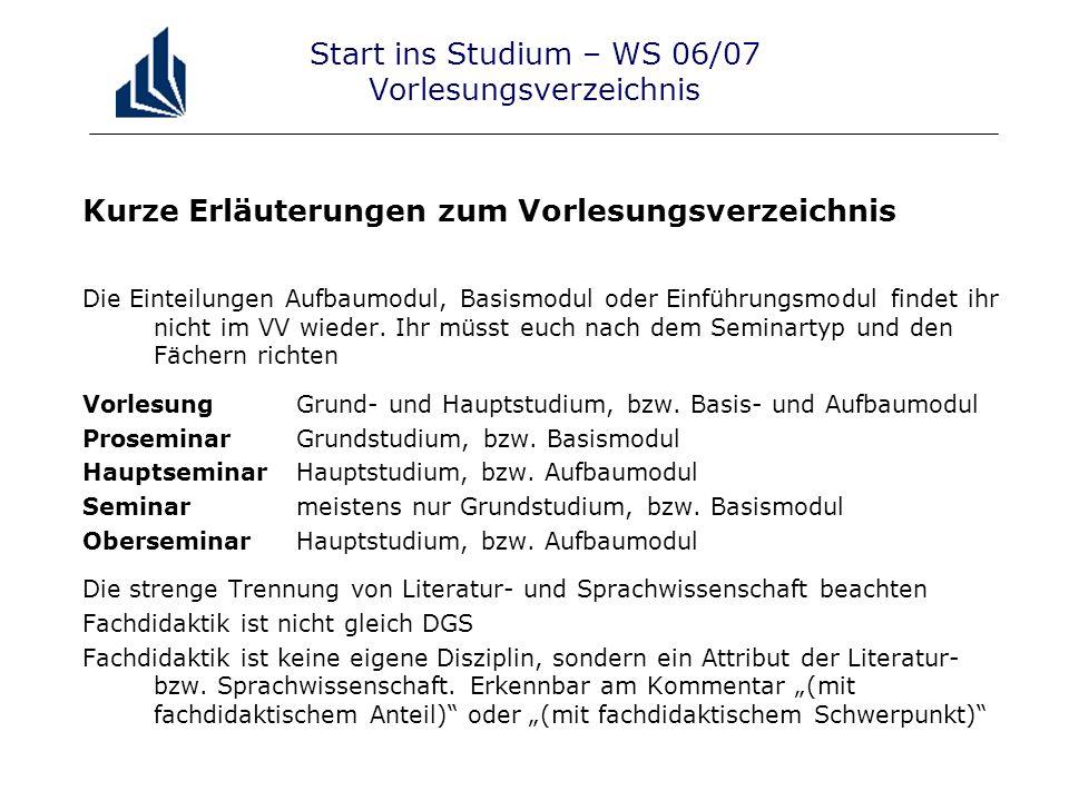 Start ins Studium – WS 06/07 Vorlesungsverzeichnis Kurze Erläuterungen zum Vorlesungsverzeichnis Die Einteilungen Aufbaumodul, Basismodul oder Einführungsmodul findet ihr nicht im VV wieder.
