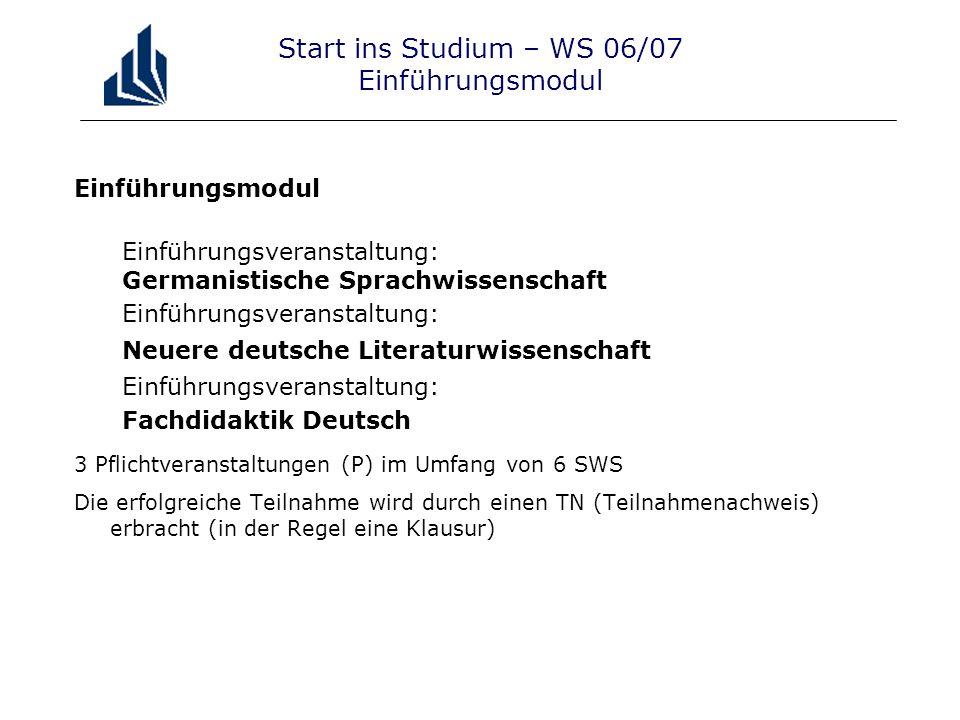 Start ins Studium – WS 06/07 Einführungsmodul Einführungsmodul Einführungsveranstaltung: Germanistische Sprachwissenschaft Einführungsveranstaltung: N