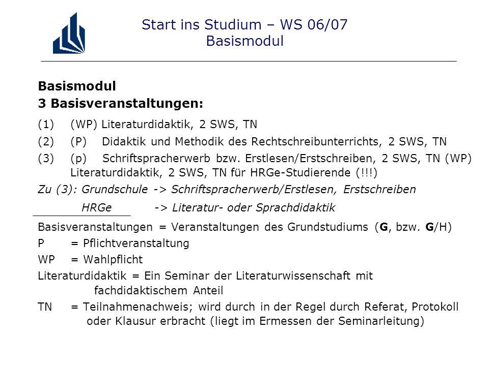 Start ins Studium – WS 06/07 Basismodul Basismodul 3 Basisveranstaltungen: (1)(WP) Literaturdidaktik, 2 SWS, TN (2)(P) Didaktik und Methodik des Rechtschreibunterrichts, 2 SWS, TN (3)(p) Schriftspracherwerb bzw.