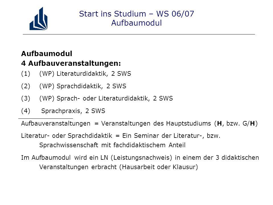 Start ins Studium – WS 06/07 Aufbaumodul Aufbaumodul 4 Aufbauveranstaltungen: (1)(WP) Literaturdidaktik, 2 SWS (2)(WP) Sprachdidaktik, 2 SWS (3)(WP) S